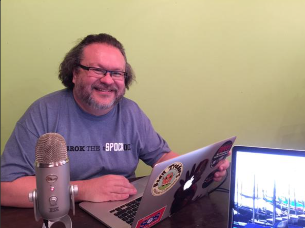Michael R getting ready to record the show